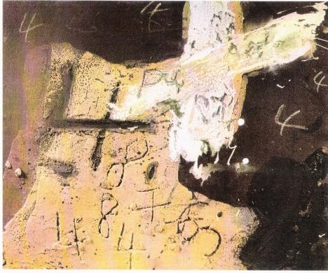 TAPIES, Ocre, marron et blanc aux quatre, 1972